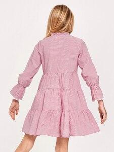 Image 3 - Balabala Girls koszula w paski sukienka Flare rękaw suknie z kokardami krawat w talii dzieci nastolatek dziewczyny wiosenne i jesienne sukienki