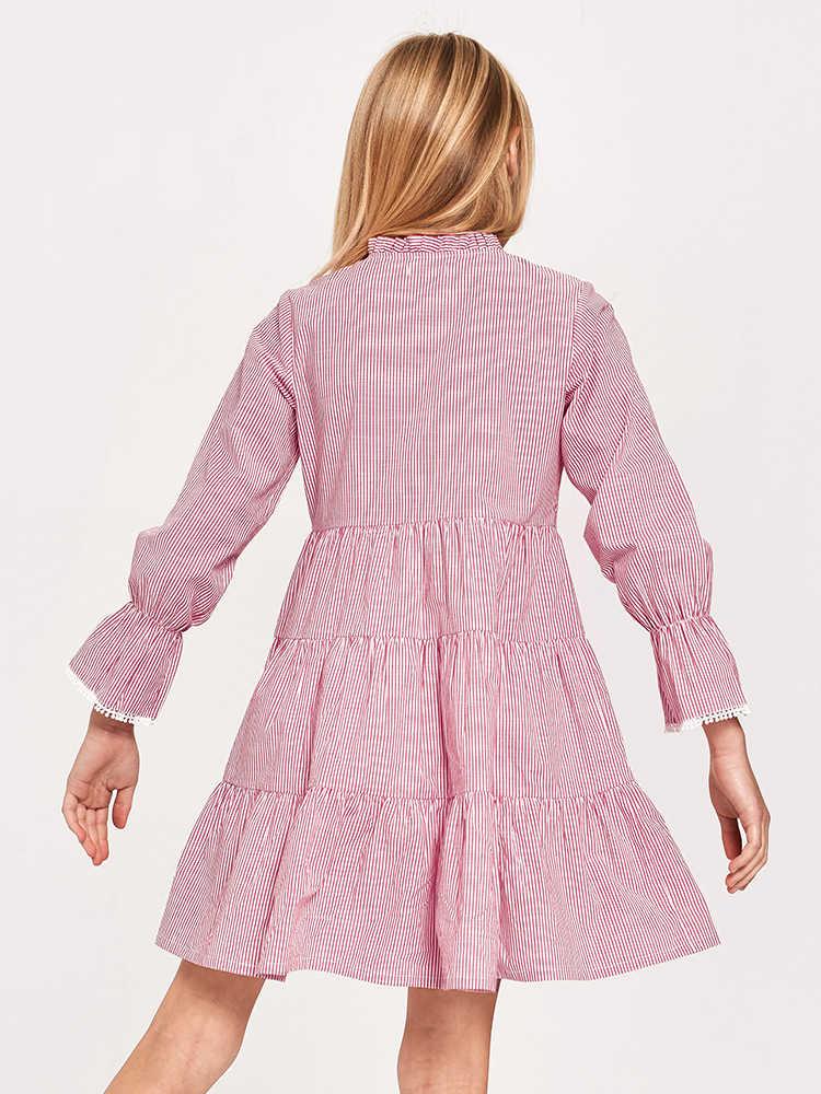 Balabala بنات مخطط قميص فستان مضيئة كم فساتين مع ربطة القوس فيونكة في الخصر الأطفال المراهقين بنات ربيع الخريف فساتين