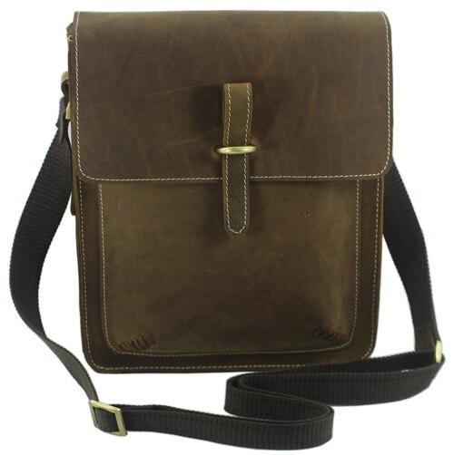 Новинка, модная мужская кожаная сумка-мессенджер из натуральной кожи, мужская повседневная сумка, портфель-слинг M133 - Цвет: Light Brown