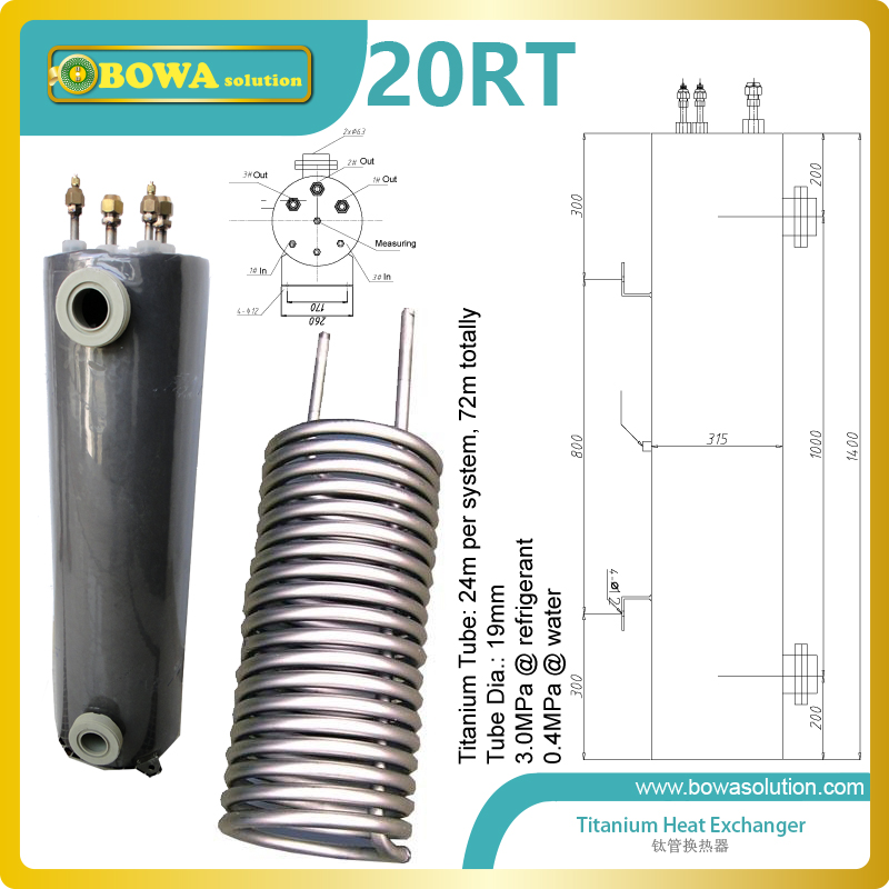 20RT Aquarium heat exchanger are widely used for desalination of sea water , food & beverage manufacturing , salt manufacturing