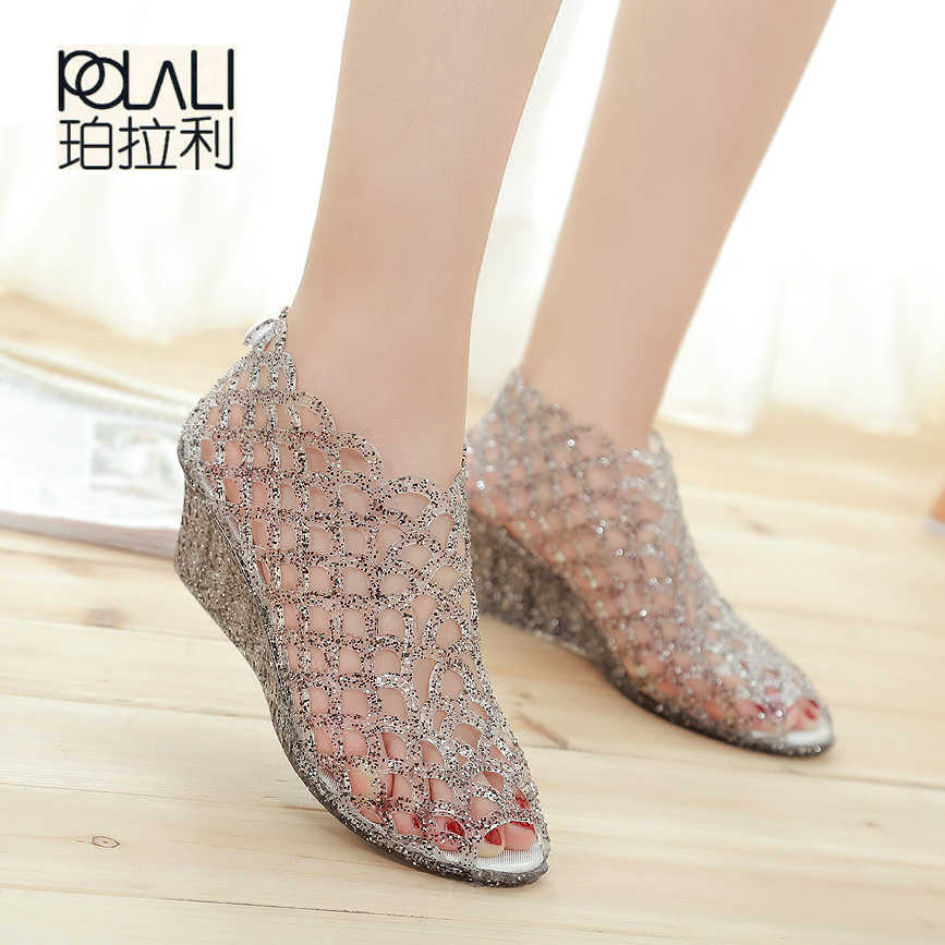 d368f97461ef POLALI 2017 Hollow Out Summer Sandals Women Peep Toe Wedge Sandals Sweet Jelly  Shoes Woman Shoes