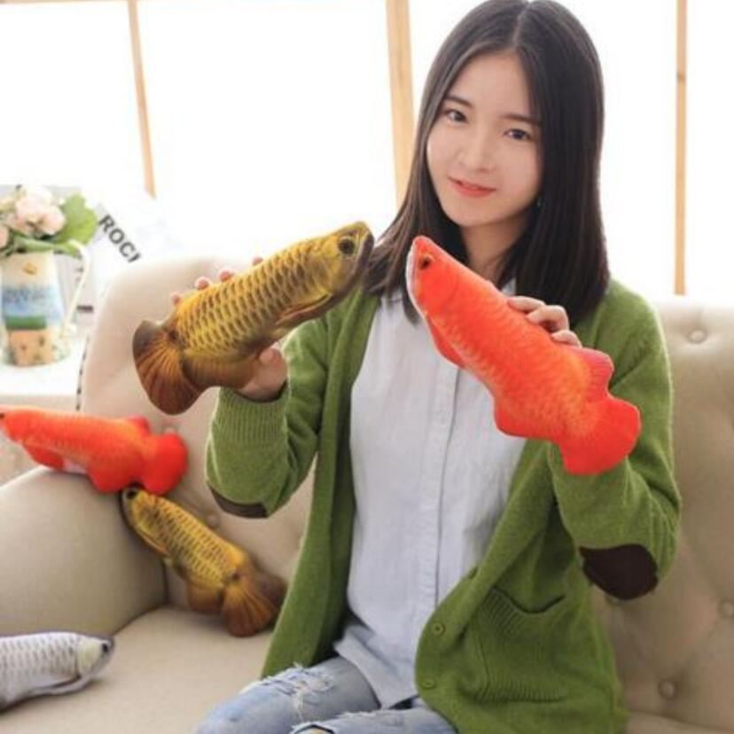 1pc 30cm Simulation Fish Golden arowana Plush Toys Stuffed Soft Animal Fish Plush Pillow Creative Sofa Pillow Cushion Gift Kids 38cm plush whales toys with soft pp cotton creative stuffed animal dolls cute whales toys fish birthday gift for children