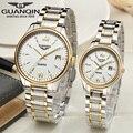 Original GUANQIN Lovers Wristwatches Full steel Luminous Waterproof Sapphire Luxury Women and Men Quartz Watch (GQ80019)
