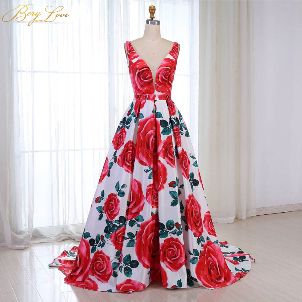 Red Floral Evening Dress 2019 Pattern Long V Neck Colorful Prom Dress Formal Party Gown Abendkleider 2019 Vestido Robe De Soiree