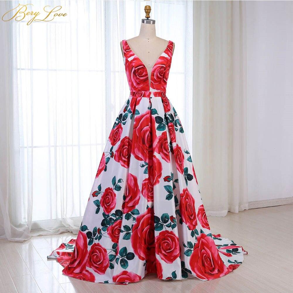 Robe de soirée florale rouge 2019 motif Long col en V coloré robe de bal formelle robe de soirée Abendkleider 2019 robe de soirée Vestido