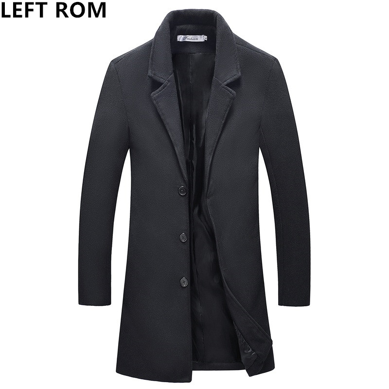 LEFT ROM fashion brand new tidal current Business affairs/ Long sleeve high quality /men The woollen cloth Overcoat /Windbreaker