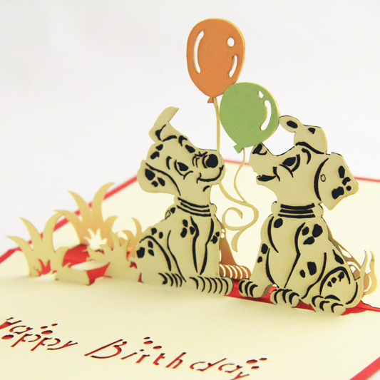 Spotty dog with balloon Birthday card /3D  card pop up card/kis birthday party card customize Free shipping house party pop up greeting card house warming invite pop up birthday card 3d birthday