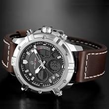 GOLDENHOUR Fashion Luxury Brand Men Waterproof Military Sports Watches Men's Quartz Analog Leather Wrist Watch relogio masculin