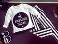 2-6A, 2017 nova moda primavera meninos camisa das meninas letras crianças T-shirt casual camisa de manga longa