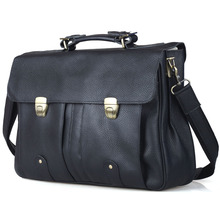 TIDING Top Quality Men s Genuine Leather 15 inch Laptop Tote Briefcases Shoulder Bags 3820