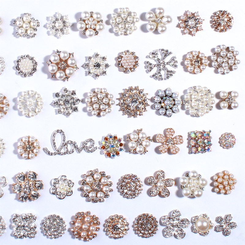 120PCS Bling Fashion Metal Alloy Rhinestone Buttons For Flower Centers Silver Gold Crystal Rhinestone Button For