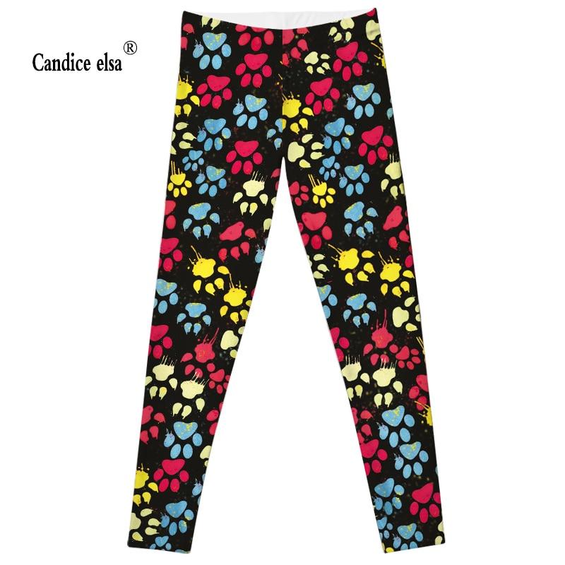 CANDICE ELSA women leggings elastic fitness legging dog paw printed leggins workout female pants drop shipping plus size