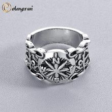 CHENGXUN Compass Rose Ring for Men Chain and Anchors Handmade Silver Sailor's Ring Unique Jewelry Wedding Party Boyfriend Gift(China)