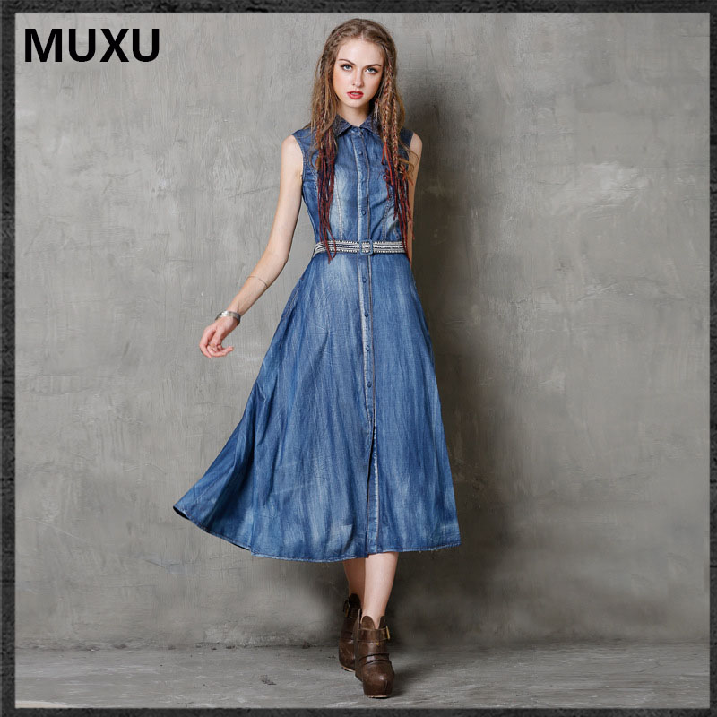 MUXU summer vintage dress vestidos mujer bohemian denim dresses women moda  feminina retro women clothing ropa mujer embroidery 4d8093f2a090