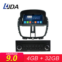 LJDA Android 9.0 Car Multimedia Player For Peugeot 207 2007 2008 2009 2010 2011 2012 2013 2014 GPS Stereo Radio 4GB Stereo WIFI