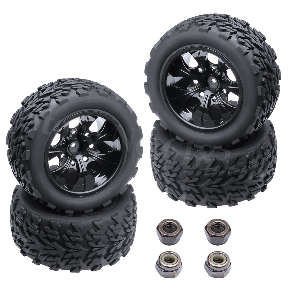 4Pcs/lot 2.2 Rubber Tires Tyre Plastic Wheel Rim 12mm Hex For Redcat Exceed HPI HSP RC 1:10th Off Road Monster Truck Bigfoot 4pcs set 140mm rc 1 8 monster truck tires tyre plastic wheel rims