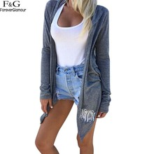 Women's Hooded Long Sleeve Solid Essential Draped Cascading Cardigan