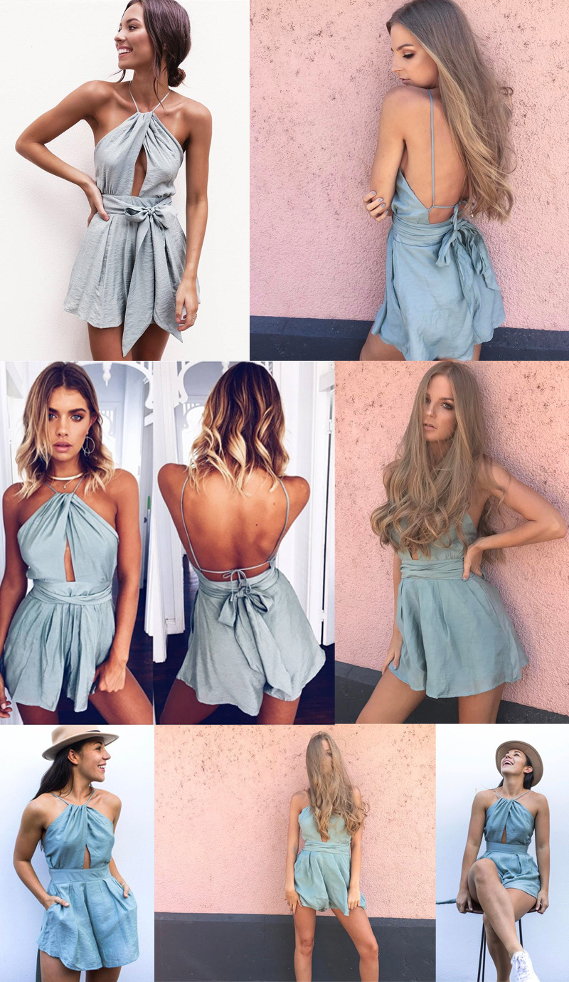 83138b1b0038 ... Camis Playsuit Cut Out Sexy Bodysuit Women Shorts Boho Jumpsuit vestido  Sash Tie Summer Style Halter Beach Resort Romper. 41% Off. 🔍 Previous. Next