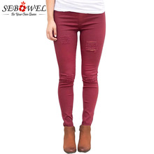 SEBOWEL Бордовые рваные эластичные брюки среднего размера с тонкими джинсами Женщина Женский Черные  Лучший!