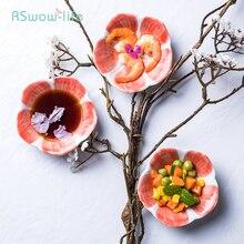Creative Flower-Shaped Ceramic Taste Plate Japanese Cherry Blossom Dip Small Hot Pot Snack Seasoning in Home Restaurant