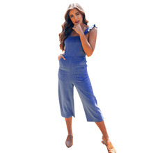 Blue summer jumpsuit Casual solid color one-piece trousers One Piece Bodysuits For Women Pantalones siameses  Y-NEW