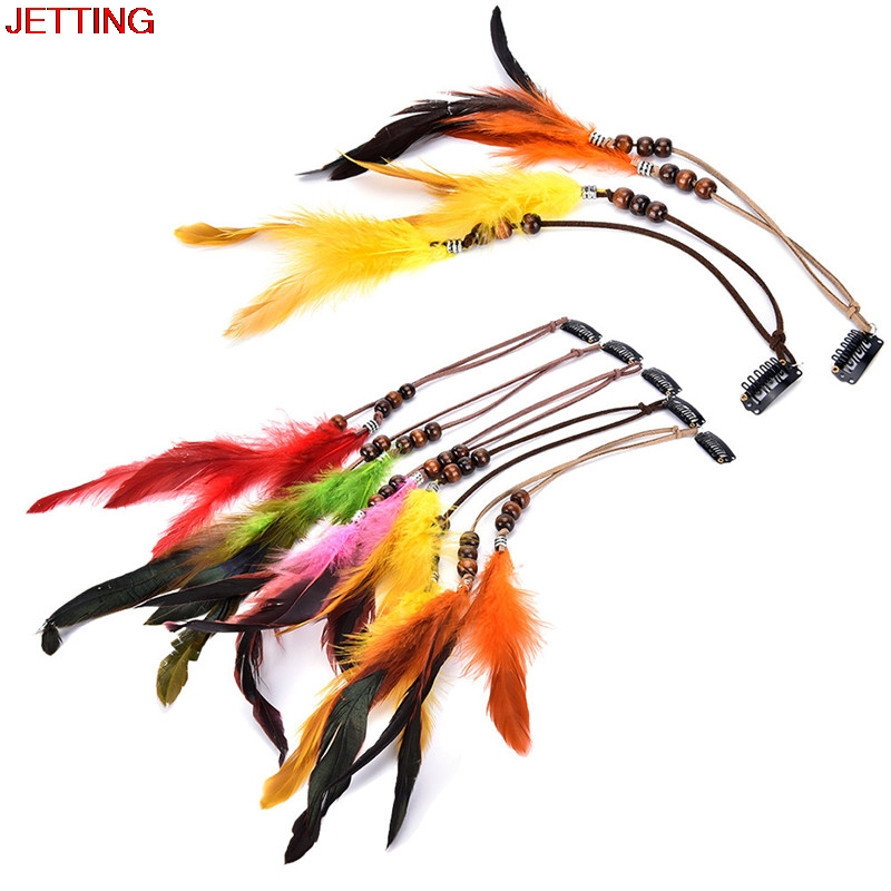 JETTING-2017 New Headdress Ornaments Clip Feathers  Indian Feather Hair Tassel Hair Piece