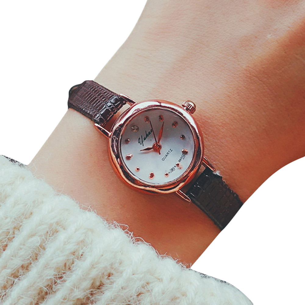 Delicate Small Dial Watch Women Fashion Leather Strap Wrist Watches Women's Casual Clock Business Quartz Watch Relogio Reloj #LH fashion casual women watch dreamcatcher dial quartz wrist watch leather dream catcher watch indian style female clock