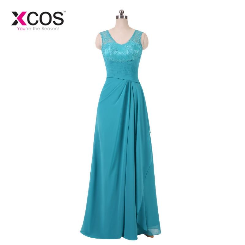 XCOS Sky Blue Vintage Long Evening Dress Elegant Lace Pleat Bride Banquet Floor-length Prom Gown Wedding Party Dress