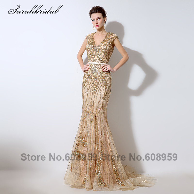 Luxury Gold Sequins Illusion Back   Evening     Dresses   Sexy V-neck Beaded Lace Mermaid Prom   Dress   Dubai Rodes De Soiree LSX053