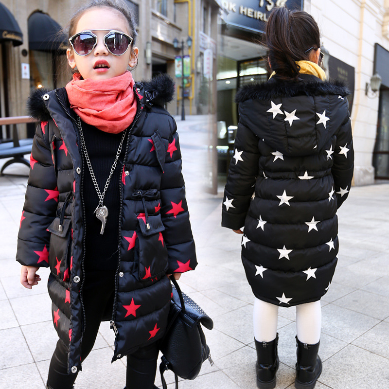 New Baby Girls Winter Coats Gaueey Star Print Kids Down Jackets Warm Girls Winter Jackets Thicken Cotton-padded Children Coats 2017 fashion boy winter down jackets children coats warm baby cotton parkas kids outerwears for