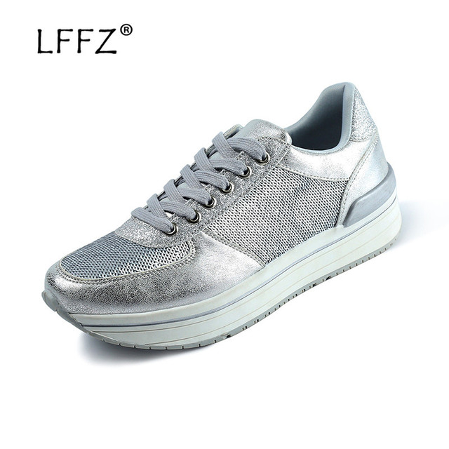 LFFZ New Design Women Flat Shoes Fashion Glossy Sequin Sneakers Women Breathable Spring Casual Shoes Ladies Platform Sneakers