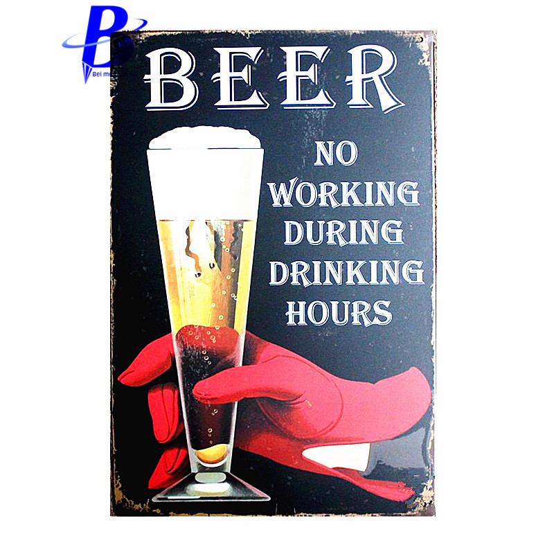 custom neon sign BEER NO WORKING DURING DRINKING HOURS Vintage Metal Tin Signs Retro Tin Plate Sign Wall Decoration ruta 66
