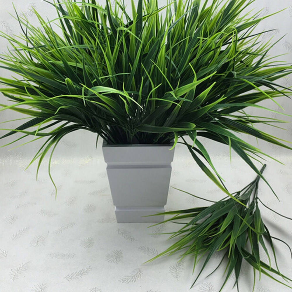 2016 new 7 fork green grass artificial plants for plastic for Artificial plants for decoration
