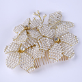 Hand-woven flower hair comb crystal rhinestone pearl head comb gold bridal headdress romantic hair accessories wedding jewelry