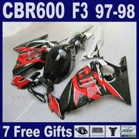 Fairings دراجة نارية abs البلاستيك الأبيض لهوندا cbr 600 f3 97 98 1997 1998 7 الهدايا الحمراء الجسم إصلاح أجزاء خزان الغلاف