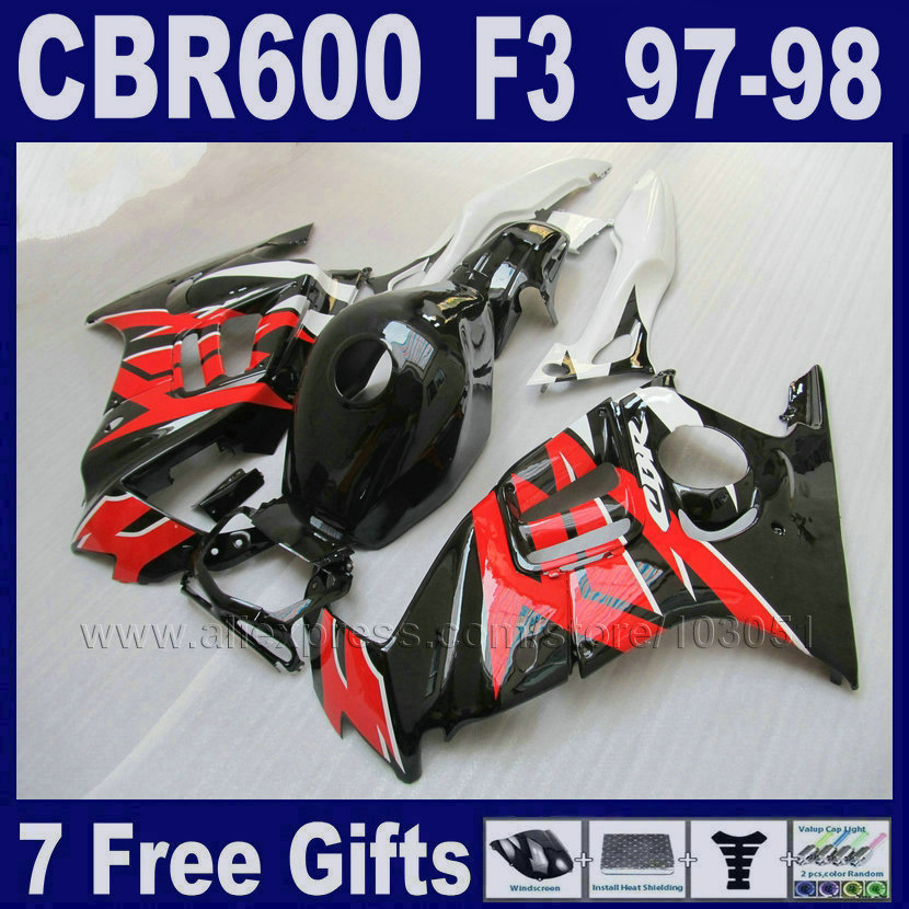 motorcycle fairings ABS plastic white for Honda CBR 600 F3 97 98  1997 1998  7gifts red body repair parts Tank cover green motorcycle parts helmet web cargo net mesh fit for honda gb250 clubman h j l p s v 1987 1997