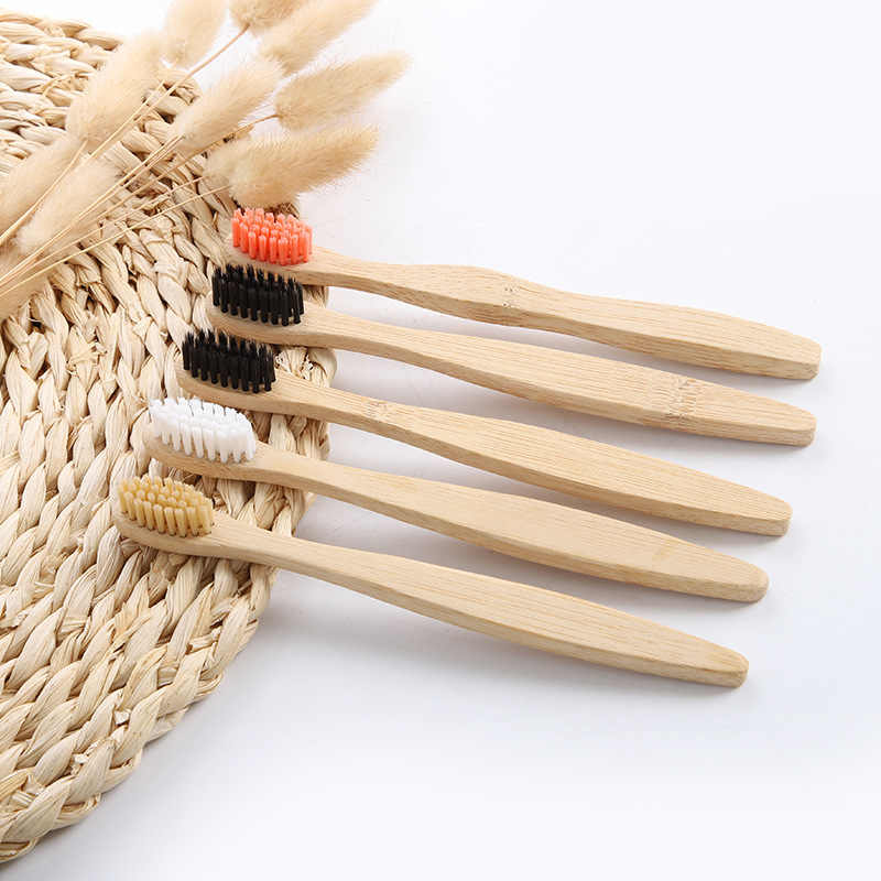 10 pcs /set Eco-Friendly Natural Bamboo Charcoal Toothbrush Soft Bristle Low Carbon Wooden Handle Portable Teeth Clean Brush