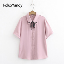 цены Hollow Out Short Sleeve Blouse Shirt Plus Size Casual Loose Summer Blouses 3 Colors KKFY3688