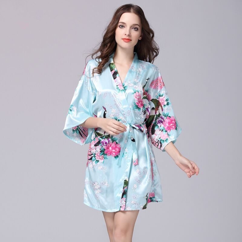 Light Blue Chinese Womens Silk Rayon Robe Kimono Bath Gown Fashion Lady Nightgown Mujer Pijama Size S M L XL XXL XXXL Xsz026G
