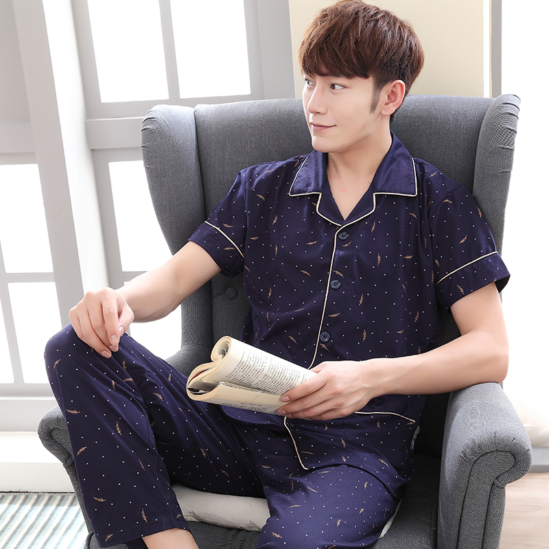 Summer New Arrival Fashion Pajamas Set For Men Sleeping Cloth 100% Cotton Turn-down Collar Print Male Pyjamas Pijamas De Hombre