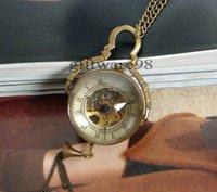 ใหม่2014แก้วลูกโบราณวิศวกรรมPocket Watchสร้อยคอจี้นาฬิกาของขวั