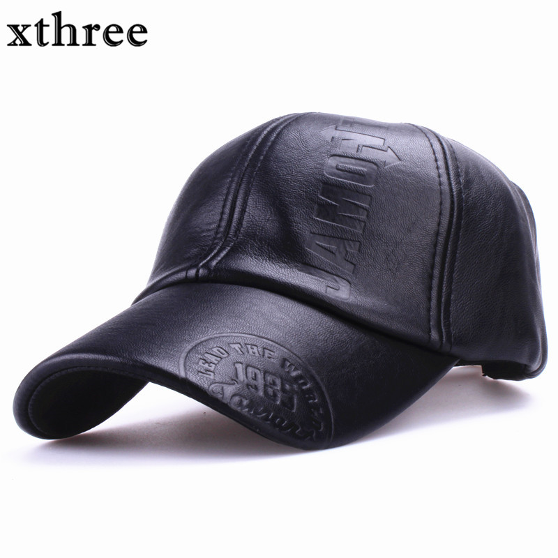 Xthree New fashion high quality fall winter men leather hat Cap casual moto snapback hat men s baseball cap wholesale