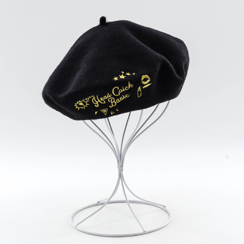 Black Winter Hat Women Classic French Wool Beret 2017 Winter Fashion Letter Embroidery Artist Beret Ladies Hat 675044