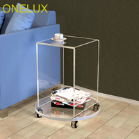 Rolling Acrylic Occasional U Table On Round Base,Lucite Small Magazine Tea Table On Wheels