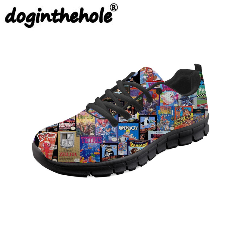 doginthehole Retro Magazine Newspaper Printing Sneakers Women Sport Shoes Mesh Gym Shoes Ladies Breathable Zapatos Mujer Running