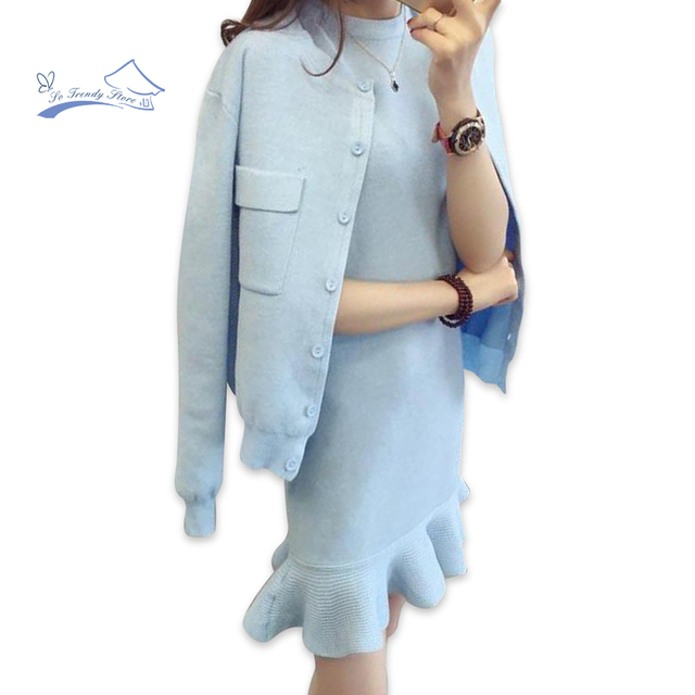 2018 Autumn Winter Women Dress Suit Set Solid Casual Knit Coat With