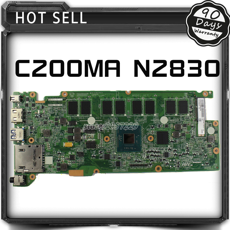 FOR ASUS C200MA Motherboard W/N2830 Processor DA00C7MB6E0 REV:E Mainboard 100% work free shipping wavelets processor