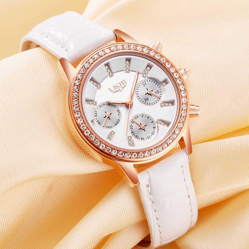ליגע הילדה מותג אופנה יהלומי חיוג נשים שעוני זהב יוקרתי עור גבירותיי שעונים נשים שמלה שעון לוח השנה relogio feminin