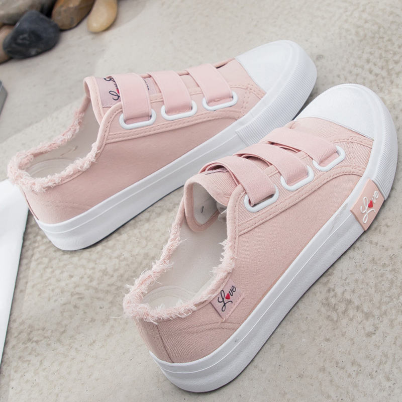 Women vulcanize shoes canvas sneakers size 4.5-8.5 female shoes hook&loop sewing casual shoes woman schoenen vrouw tyh78