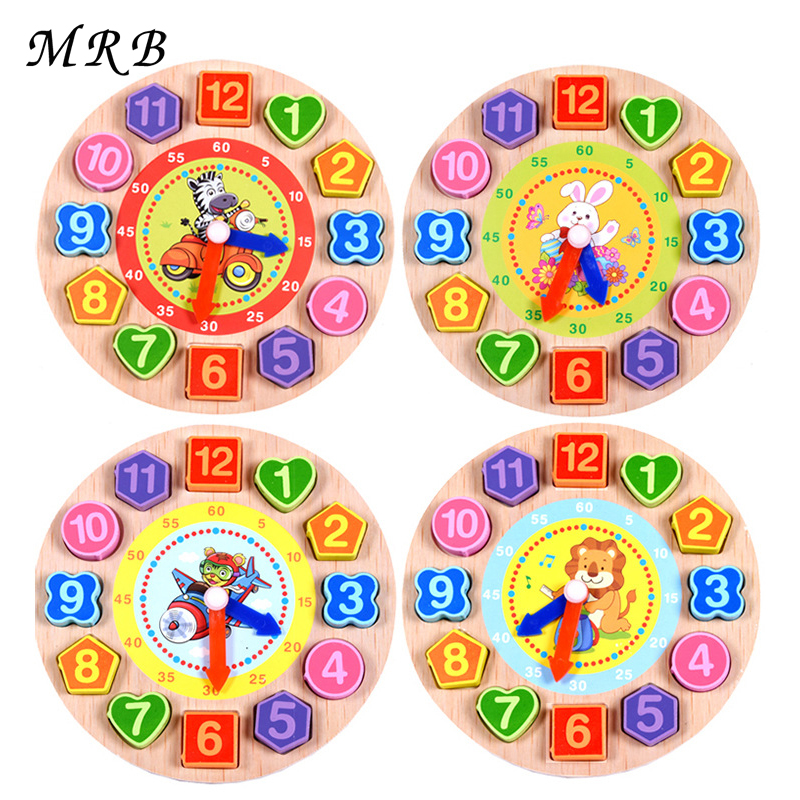 Baby Kids Toys Wooden Cartoon Animal Model Digital String The Clock Puzzle Montessori Early Education Toys For Children